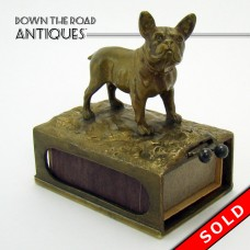 Cast Bronze Austrian Match Safe with Cigar Cutter and Bulldog - 1920's (SOLD)