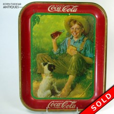 Coca Cola Tin Advertising Tray - Boy and Dog - 1931 (SOLD)