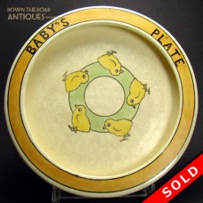 Roseville Pottery Baby's Plate with Chicks (SOLD)