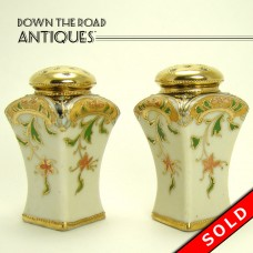 Hand Painted Nippon Porcelain Salt and Pepper Shakers - Gold and Floral (SOLD)