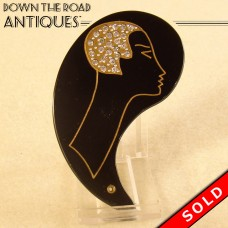 Art Deco Bakelite Ladies Pocket Mirror with Rhinestones (SOLD)