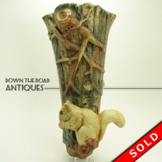 Weller Woodcraft Art Pottery Wall Pocket with Squirrel - 1930's (SOLD)