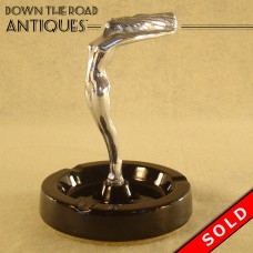 Chrome Ashtray with Figural Nude and Black Ceramic Base - 1920's Art Deco (SOLD)