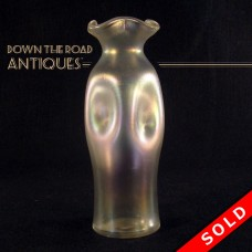 Steuben Verre de Soi Ruffled Glass Vase with Pinched Sides (SOLD)