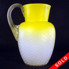 Herringbone Electric Lemon Glass Water Pitcher with Applied Handle (SOLD)