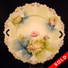Hand Painted Porcelain Plate with Roses and Leaves (SOLD)