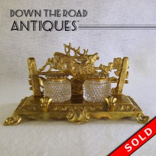 Bradley & Hubbard Double Inkwell with Deer and Dogs (SOLD)