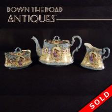 Hand-Painted Porcelain Tea Set - German/Dresden (SOLD)