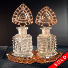 Czechoslovakian Glass Perfume or Scent Bottle Set (SOLD)