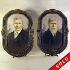 Pair of Carved Gesso Convex Glass Picture Frames and Photos  - 1920's (SOLD)