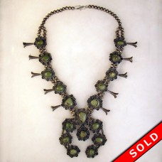 Large Sterling Silver and Turquoise Indian Squash Blossom Necklace (SOLD)