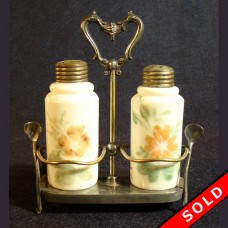 Silver Plated Wishbone Condiment Holder with Milk Glass Salt & Pepper (SOLD)