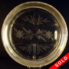 Cut Glass Divided Serving Dish with Sterling Rim (SOLD)