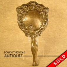 Sterling Hand Mirror with Figural Repoussé Design (SOLD)