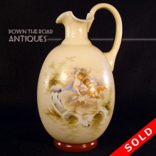 Bristol Glass Ewer with Applied Handle and Winged Angels (SOLD)