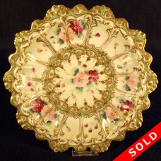 Nippon Porcelain Plate with Heavy Gold and Floral Design (SOLD)
