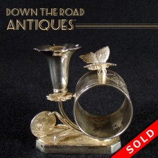 Silver Plated Napkin Ring with Bud Vase - Butterfly and Fan (SOLD)