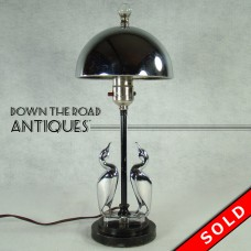 Chrome and Black Pelican Boudoir Lamp - 1920's Art Deco (SOLD)