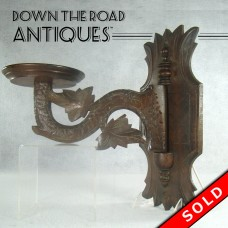 Carved Walnut Wall-Mounted Oil Lamp Holder (SOLD)