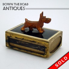 Enameled Brass Match Safe with Carved Scottie Dog - 1910 (SOLD)