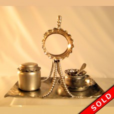 Pairpoint Silver Plated Condiment set with Salt, Pepper, Napkin Ring, Tray & Spoon (SOLD)