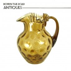 Hand Blown Glass Water Pitcher with Ruffled Top and Inverted Thumbprint Pattern - 1890's