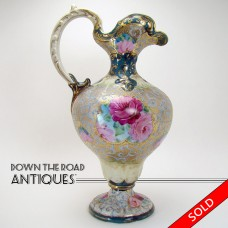 Hand-Painted Nippon Porcelain Ewer with Bolted Bottom and Raised Gold Floral Design (SOLD)