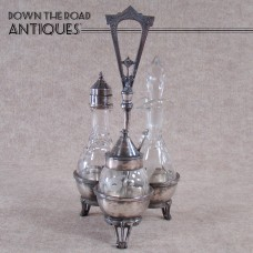 Victorian Four-piece Silver Plated Cut Glass Condiment Set