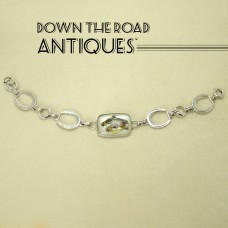 Sterling Horseshoe Bracelet with Carved Crystal and Painted Background