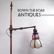 Floor Lamp, Solid Bronze Claw-Footed Caramel Slag  - c.1920's
