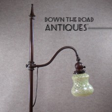 Handel Bronze Adjustable Floor Lamp with Art Glass Fishnet Shade (CONTACT US FOR INFO)