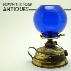 Brass and Cobalt Blue Glass Cigar Lighter - 1890's