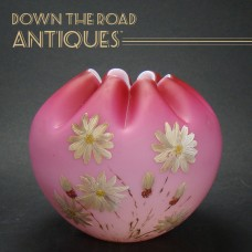 Pink Satin Glass Rose Bowl with Enamel Work and Ruffled Top