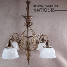 Solid Brass/Bronze Four Arm Chandelier with Opaline Shades  c.1900