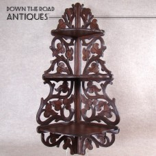 Three-Tiered Shelf - Carved Black Walnut, Leaves and Vines - 1880's