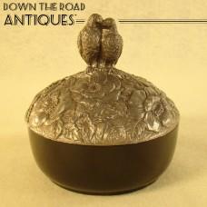 Black Amethyst Powder Jar with Silver Plated Lovebird Lid