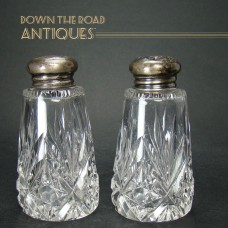 Cut Glass Salt and Pepper Shakers with Sterling Tops - 1910