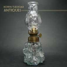 Miniature Clear Glass Oil Lamp with Embossed Globe and Base - 1880's