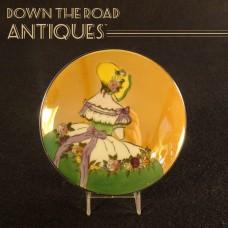 Hand-Painted Noritake Lusterware Portrait Powder Jar - Art Deco