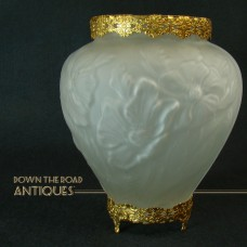 Consolidated Glass Embossed Satin Vase with Brass Ormolu Mounts - 1930's