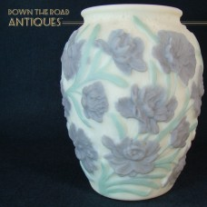 Consolidated Glass Embossed Custard Vase with Violet and Green Floral Design - 1930's
