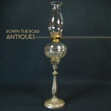 Pressed Glass Peg Oil Lamp on Silver Plated Pewter Base - 1870's