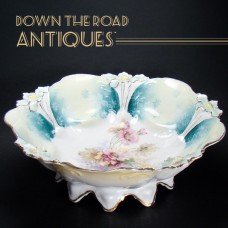 Hand-Painted R.S. Prussia Footed Porcelain Bowl