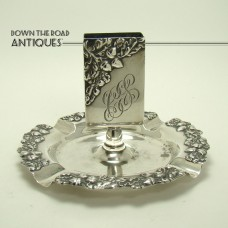 Sterling Match Holder Ashtray with Acorn and Leaf Pattern - 1890's