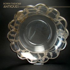 Large Glass Bowl with Heavy Sterling Overlay - 1900's