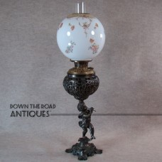 Bradley & Hubbard Banquet Lamp with Lion Heads and Putto Blowing Fife  - 1880's