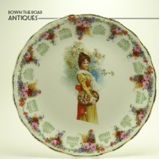 Porcelain Calendar Plate with Girl and Apple Basket - 1911