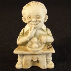 German Heubach Bisque Figurine - Man Eating Meatballs - 1920's