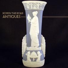 Schafer & Vater Blue Jasperware Vase - Woman and Cherubs