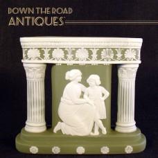 Schafer & Vater Green Jasperware Column Vase - Rare Form - Woman and Child